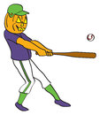 Pumpkin baseball player a cartoon with a jack o lantern head hitting a ball Stock Photography