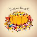 Pumpkin basket full of candies vector illustration a different usually used for halloween celebration Stock Photos