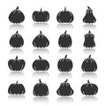 Pumpkin black silhouette with reflection icon set