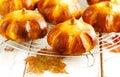 Pumpkin buns homemade on wooden background Stock Photo