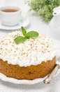 Pumpkin cake with cream and mint closeup Royalty Free Stock Images