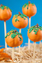 Pumpkin cake pops against blue background Royalty Free Stock Image