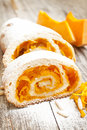 Pumpkin cake roll roulade with chopped Stock Photography