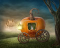 Pumpkin carriage isolated on white background Royalty Free Stock Image