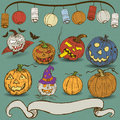 Pumpkin collection vector illustration of different pumpkins with hand drawn banner and with lanterns decoration Royalty Free Stock Photo