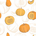 Pumpkin color graphic seamless pattern sketch illustration Royalty Free Stock Photo