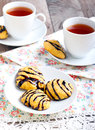 Pumpkin cookies with chocolate drizzle Royalty Free Stock Photos