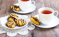 Pumpkin cookies with chocolate drizzle Stock Image