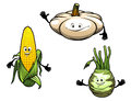 Pumpkin corn and turnip cartoon vegetables isolated on white background Royalty Free Stock Image