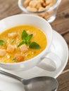 Pumpkin cream soup bowl of selective focus Royalty Free Stock Image