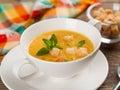 Pumpkin cream soup bowl of selective focus Stock Photography