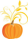 Pumpkin with decorative sprig Royalty Free Stock Photography