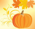 Pumpkin with decorative sprig and maple leaves Stock Photo