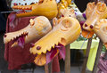 Pumpkin dragon heads halloween party decoration above Stock Image