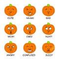 Pumpkin emoji. Funny hand-drawn Halloween face