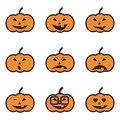 Pumpkin face expressions icons this image is a illustration and can be scaled to any size without loss of resolution Royalty Free Stock Images