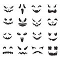 Pumpkin faces. Halloween jack o lantern face silhouettes. Monster ghost carving scary eyes and mouth vector icons set