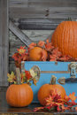Pumpkin and Fall leaves on country porch Royalty Free Stock Photo