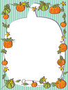 Pumpkin frame illustration of striped background Stock Photos