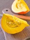 Pumpkin fresh on wooden board Royalty Free Stock Photo