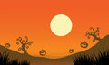 Pumpkin and full moon halloween bakcgrounds illustration Royalty Free Stock Photos