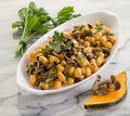 Pumpkin gnocchi with mushroom Royalty Free Stock Photography