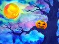 Pumpkin Halloween Night Backgr...