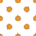 Pumpkin hand drawn on white background. Hand drawn seamless orna