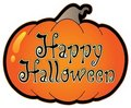 Pumpkin with Happy Halloween sign Royalty Free Stock Photo