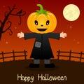 Pumpkin Head Happy Halloween Card Royalty Free Stock Photo