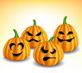 Pumpkin head set with different expressions for halloween Stock Photos