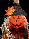 Pumpkin Headed Scarecrow on Black Stock Photo