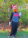 Pumpkin headed scarecrow a with a checkered vest polka dot bow tie white gloves and striped hat Royalty Free Stock Photography