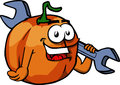 Pumpkin holding a huge wrench