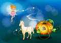 A pumpkin a horse and a fairy illustration of Royalty Free Stock Photos