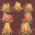 Pumpkin city in the autumn forest illustration