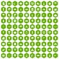 100 pumpkin icons hexagon green