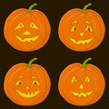 Pumpkin Jack O Lantern, set Stock Photos