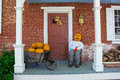 Pumpkin Man on Country Porch Royalty Free Stock Photo