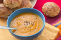 Pumpkin mashed soup with sesame Stock Photos