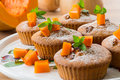 Pumpkin muffins sweet with walnuts and powdered sugar Royalty Free Stock Photos