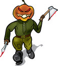 Pumpkin murderer escapes with a knife and hatchet Royalty Free Stock Photos