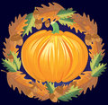 Pumpkin with oak leaf wreath an autumn decorative image of a surrounded by leaves Royalty Free Stock Photography