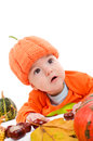 Pumpkin outfit little baby in jack o lantern Royalty Free Stock Photos