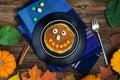 Pumpkin pancakes for kids Royalty Free Stock Photo