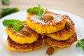 Pumpkin pancakes sweet on a plate with mint Royalty Free Stock Photos