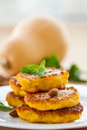 Pumpkin pancakes sweet on a plate with mint Royalty Free Stock Photo