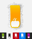 Pumpkin paper sticker with hand drawn elements Royalty Free Stock Photo
