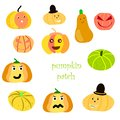 Pumpkin patch clipart. Versatile cartoon characters.