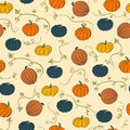 Pumpkin pattern colored pumpkins bright seamless with orange brown and gray Royalty Free Stock Photos